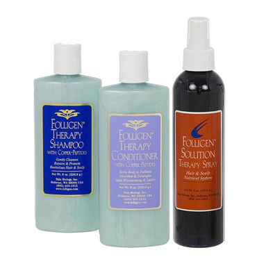 Folligen Shampoo, Conditioner and Therapy Spray Combo